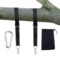 Tree Swing Hanging Kit,  2 Strap & Snap Carabiner Hook, Easy & Fast Swing Hanger Installation to Tree for Swings, Hammocks(Black)