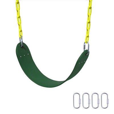 Heavy Duty Swing Seat,66″ Chain Plastic Coated Playground Swing Set Accessories Replacement with 4 Upgraded Hooks for Child ( Green )