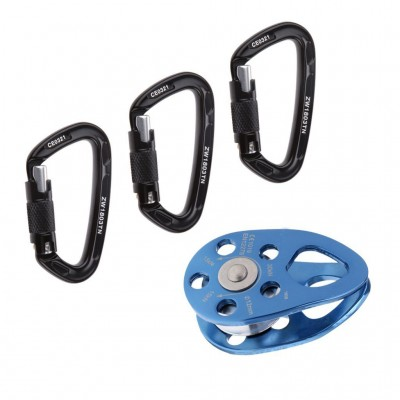 Pack of 3 Pieces 24KN Auto Locking Safety Climbing Carabiner + 30KN Blue Rope Pulley