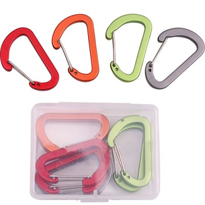Aluminum Alloy Spring Clip Metal Carabiner Buckle, D Shaped, Flat Style, 12Pcs/Pack
