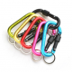 D-shape Aluminum Screw Carabiner for Fishing, Hiking, Traveling with Key Ring Locking Clip Spring Snap Hook Keychain Outdoor Buckle — Assorted Colors (Set of 6)