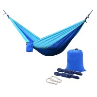 Camping Hammocks, Portable Lightweight Nylon Parachute Multifunctional Hammock for Backpacking, Travel, Beach, Yard. 500 LB Capacity (Blue/Sky Blue)