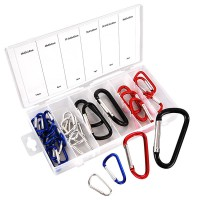 25 assorted aluminium carabiner hooks, coloured carabiner